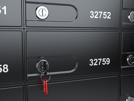 safety box: Safe bank cell and key to the safe. 3d illustration high resolution