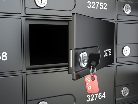depository: Open safe bank cell and key to the safe. 3d illustration high resolution