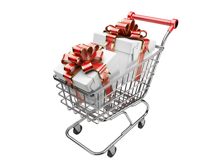 gift cart: Shopping cart with gifts boxes. isolated on a white background 3d image