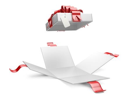 Eröffnet Geschenkbox leer Geschenk-Tag auf einem weißen Hintergrund Standard-Bild