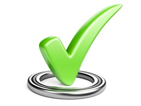 polls: Check box with green check mark isolated on white.