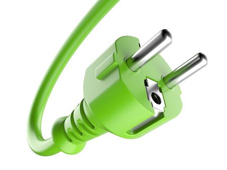 L'énergie verte et le câble électrique. 3d illustration sur un fond blanc Banque d'images - 35116726