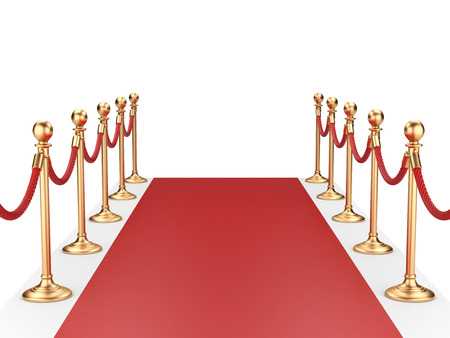 red carpet between two gold stanchions with rope. 3d illustration