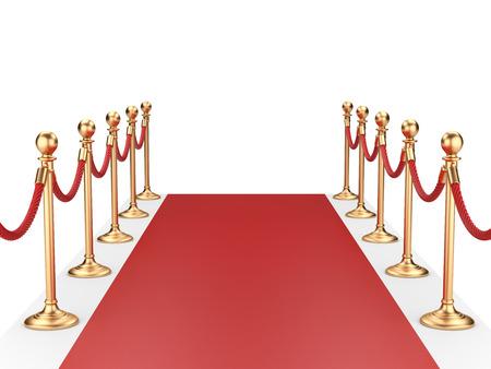 rode loper tussen twee gouden scepters met touw. 3d illustratie Stockfoto