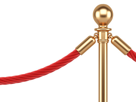 rope barrier: closeup gold stanchions with rope isolated on  white background
