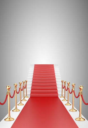 stanchion: Staircase and red carpet between two gold stanchions with rope. 3d illustration