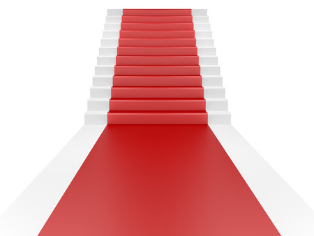 stanchion: Staircase and red carpet. 3d illustration isolated on a white