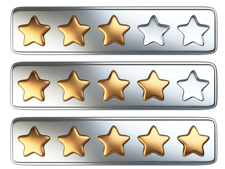 five stars: Golden five stars rating system. 3d illustration isolated on a white background.