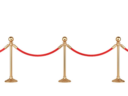 velvet rope: gold stanchions with rope isolated on  white background