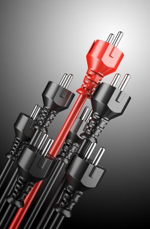 energy management: Red and black power plugs - leadership concept. 3d illustration