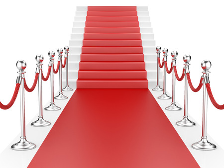 velvet rope: Staircase and red carpet between two metallic stanchions with rope. 3d illustration Stock Photo