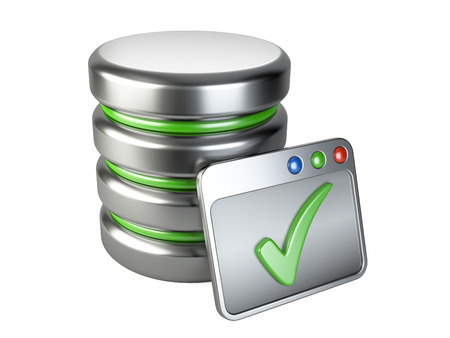 dir: Database storage concept with Ok sign. 3D image isolated on white