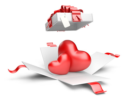 open gift box: Opened gift box with red hearts isolated on a white background Stock Photo