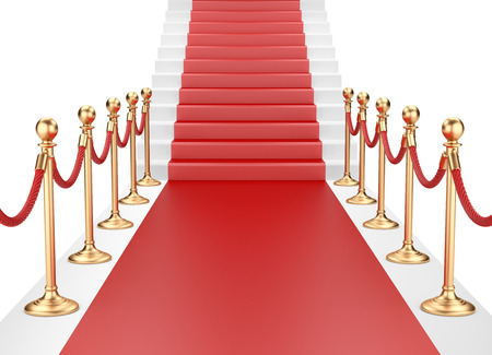 Staircase and red carpet between two gold stanchions with rope. 3d illustration