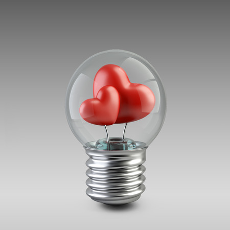 light bulb concept with a red heart. High resolution 3d illustration illustration