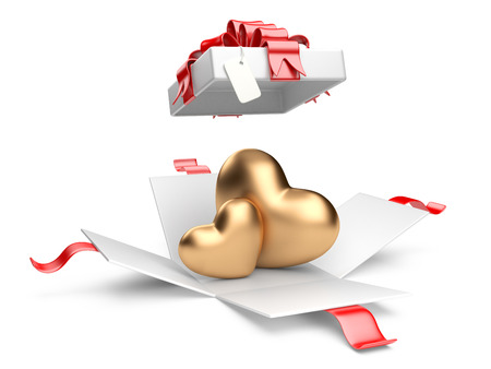 Opened gift box with golden hearts isolated on a white background photo