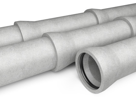 culvert: Industrial concrete pipes for Sewer on a white background. 3d image