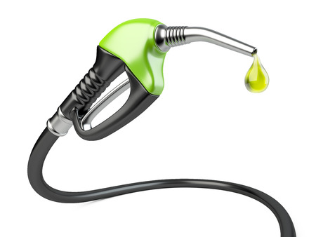 Green fuel pump nozzle with drop oil. Bio fuel concept.