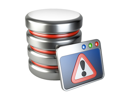 Error database with exclamation mark. 3D image isolated on white Stock fotó