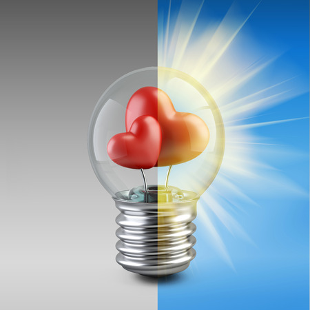 light bulb concept with a red shape of a heart. High resolution 3d illustration illustration