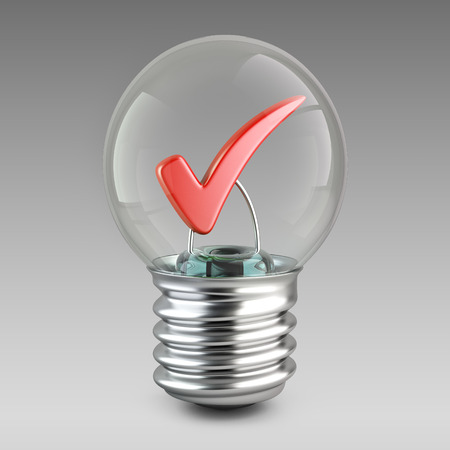 affirmative: Success concept. Light bulb and red check mark. 3d illustration for your design.