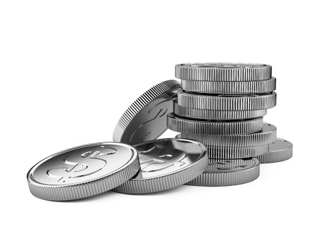 silver coins: Stack of silver coins isolated on white. 3d illustration high resolution Stock Photo