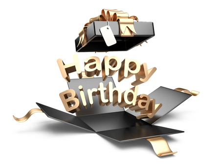 packaged: Open gift box with gold bow and ribbon. Happy birthday message on a white background Stock Photo