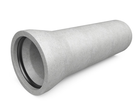 sewer pipe: Industrial concrete pipe for Sewer on a white background. 3d image Stock Photo