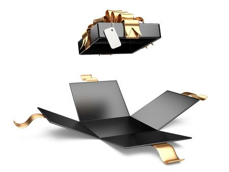 Eröffnet schwarzen Geschenkbox leer Geschenk-Tag auf einem weißen Hintergrund