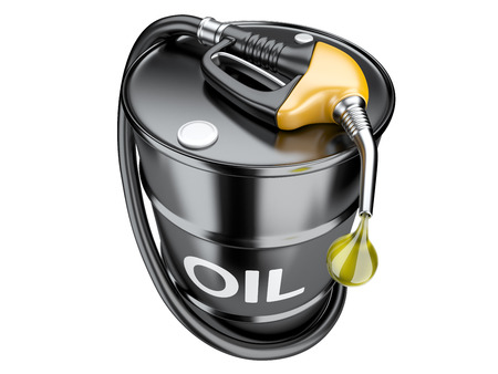 gas nozzle: Fuel concept with oil barrel and gas pump nozzle. Isolated 3d image.