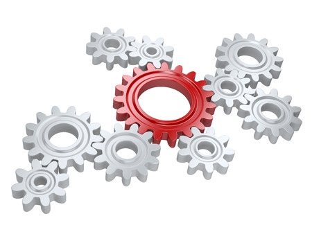 White gears and one red. Teamwork and leadership concept. Isolated on a background Stock fotó