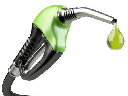 Grün Zapfpistole mit Tropfen Öl. Bio-Kraftstoff-Konzept.