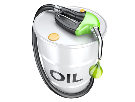 bio fuel: Bio fuel concept with oil barrel and gas pump nozzle. Isolated 3d image. Stock Photo