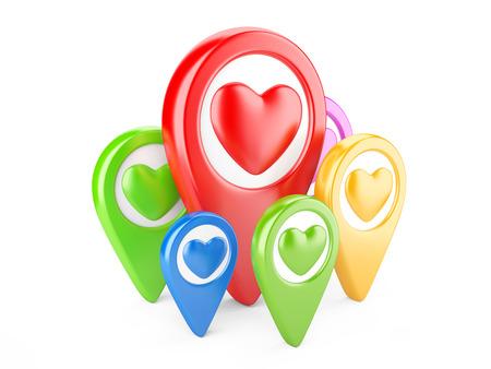 position d amour: Pointeurs cardiaques color�s. Mes beaux endroits pr�f�r�s
