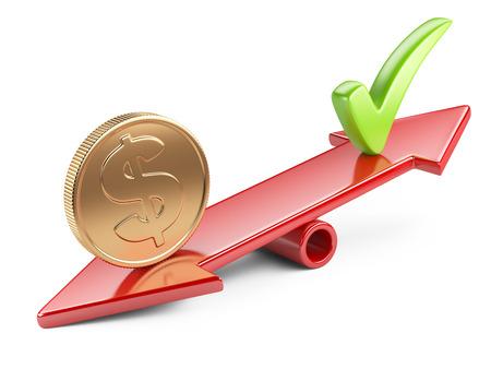 お金の概念、コインとスケールのバランスのシーソー上のチェック マーク