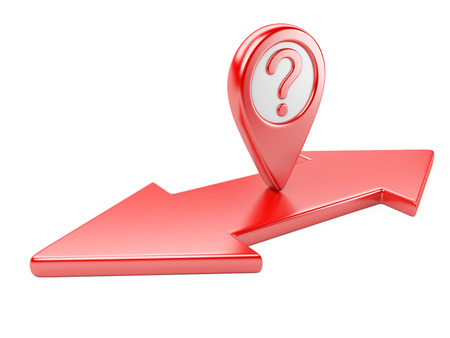 back problem: Red dual  direction arrow with question symbol and map pointer. 3d image.
