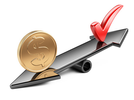 Money concept, coin and check mark on scale balance seesaw photo