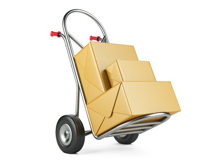 despatch: Hand truck with carton packages on a white background. Delivery concept