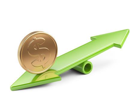 apalancamiento: Concepto del dinero, moneda en el balancín equilibrio escala
