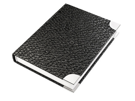 scheduler: Closed black leather notebook isolated on a white background Stock Photo