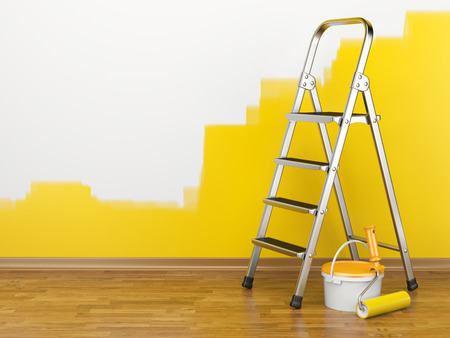 color wall: Home Improvement. Ladder, paint can and paint roller near a wall of yellow colour. 3d illustration
