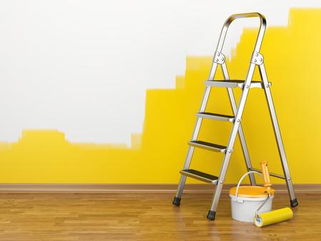 amarillo: Mejoras Para El Hogar. Escalera, pintura puede y rodillo de pintura cerca de una pared de color amarillo. 3d ilustración