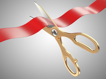 Gold scissors cutting a red tape ribbon. 3d image isolated on a white background
