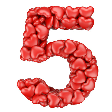Number five from hearts. 3d image isolated on a white background.