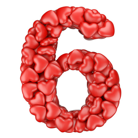 numeracy: Number six from hearts. 3d image isolated on a white background.