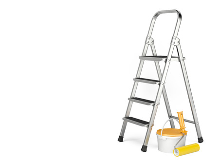 Home Improvement. Ladder, paint can and paint roller near a white wall. 3d illustration illustration