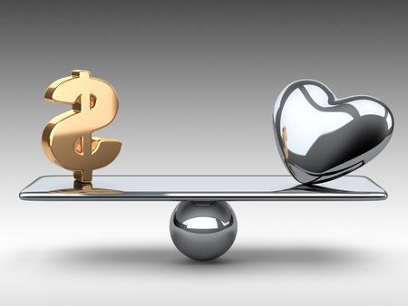 Balance between gold dollar symbol and metallic heart. 3d illustration on a grey background.
