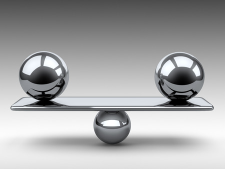 Balance between two large metallic spheres. 3d illustration on a grey background.