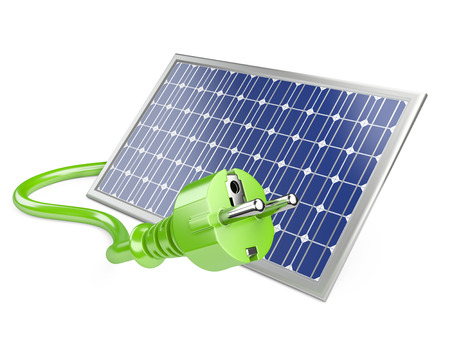 Solar panel with plug, green energy concept. 3d illustration