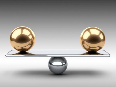 orbs: Balance between two large gold spheres. 3d illustration on a grey background.